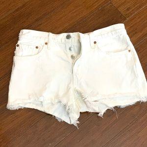Levi's White Cutoff Jean Shorts